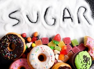 Sugar candies and donut