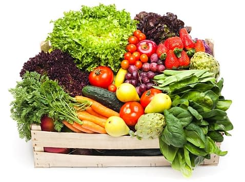 A collection of vegetable in crate